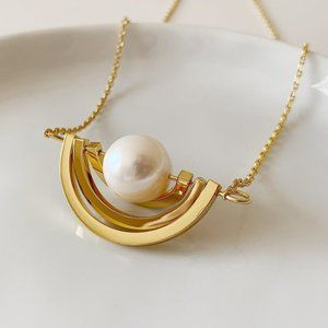 Tory Burch 2020 Pearl Swing Ring Necklace